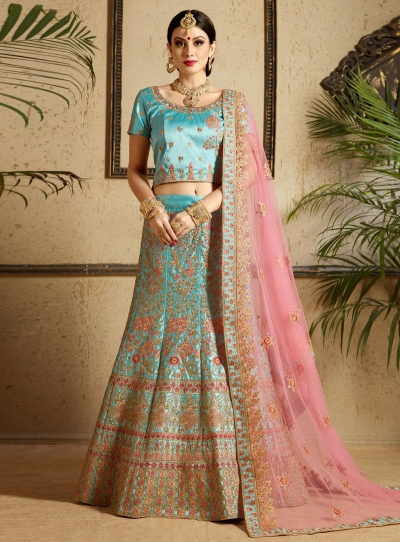 Sky blue satin wedding lehenga choli 1301