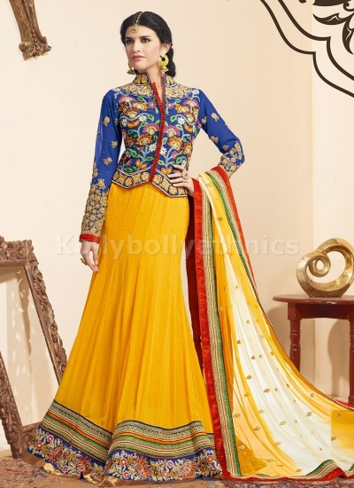 SIMPLISTIC FLORAL AND LACE WORK DESIGNER LEHENGA CHOLI