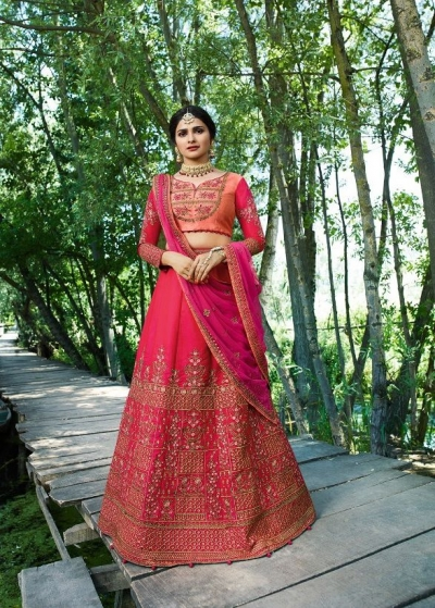Prachi Desai Pink silk wedding wear lehenga choli 19777
