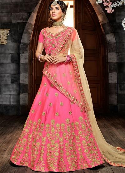 Pink silk net wedding lehenga choli 4995
