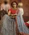 Grey Organza wedding wear lehenga choli 10651