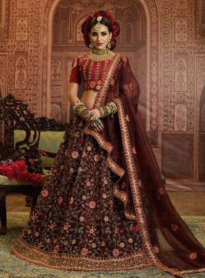 Brown Organza wedding wear lehenga choli 10655