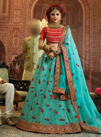 Blue Organza wedding wear lehenga choli 10656