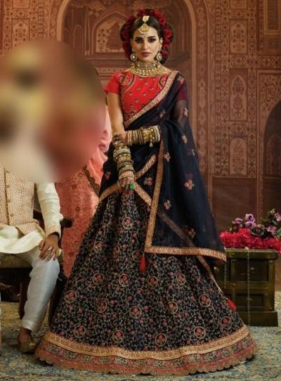 Blue Organza wedding wear lehenga choli 10657