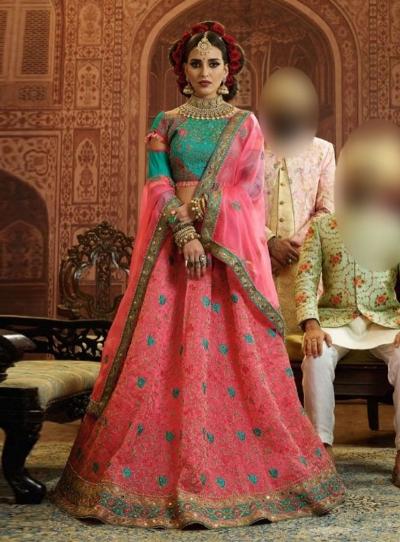 Pink and Blue Organza wedding wear lehenga choli 10658