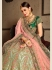 Green satin silk Indian Wedding lehenga choli 8001