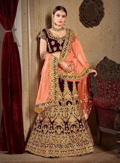 Wine satin silk Indian Wedding lehenga choli 8002