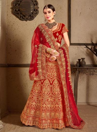 Red velvet Indian Wedding lehenga choli 8005