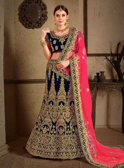 Blue velvet Indian Wedding lehenga choli 8006