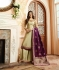 Cream purple silk festive wear palazzo suit 15102