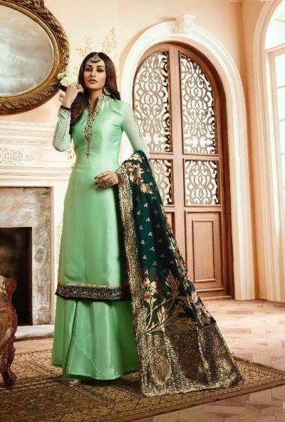 Green silk festive wear palazzo suit 15104