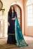 Blue silk festive wear palazzo suit 15105