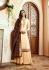 Cream brown silk festive wear palazzo suit 15107