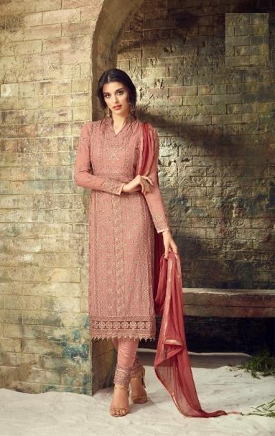 Peach heavy embroidered straight cut georgette salwar 53004