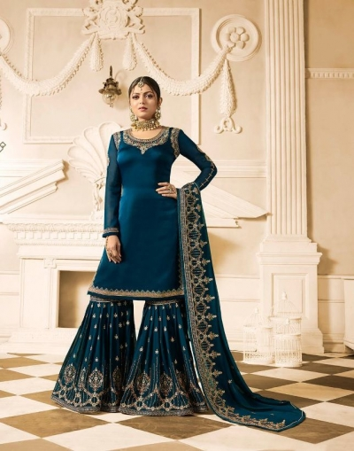 Drashti Dhami blue wedding sharara suit 2501
