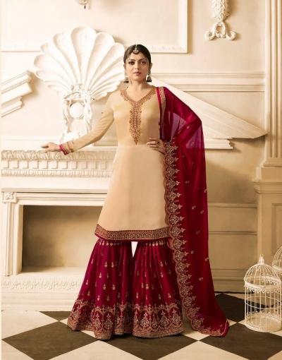 Drashti Dhami Beige maroon wedding sharara suit 2504