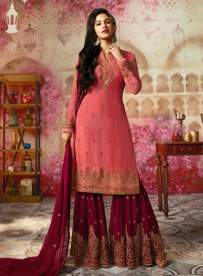 Amyra Dastur Pink Indian sharara style wedding suit 4005