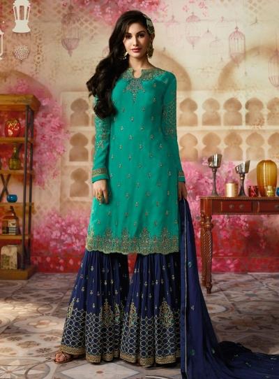 Amyra Dastur Firozi Indian sharara style wedding suit 4006