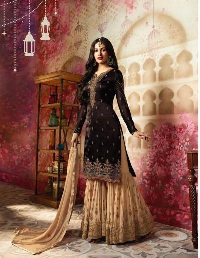 Amyra Dastur Brown Indian sharara style wedding suit 4009