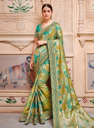 Green color pure banarasi silk indian wedding saree 2002