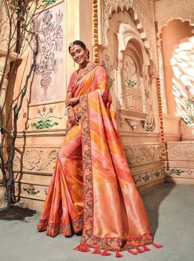 Orange pink stripes pure banarasi silk wedding saree 2003