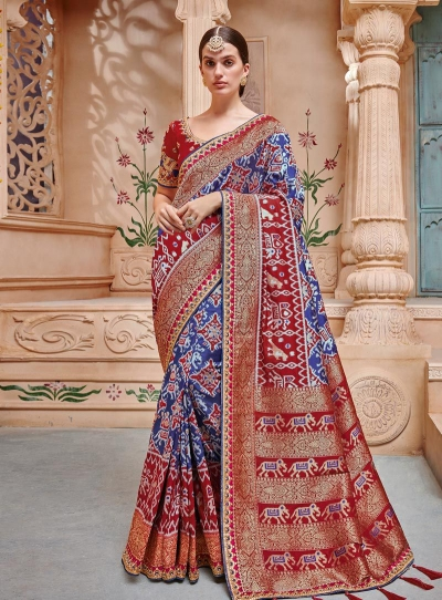 Blue red color pure banarasi silk wedding wear saree 2005