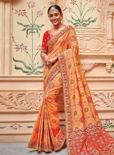 Orange color silk pure banarasi wedding saree 2006
