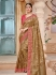 Golden brown pure banarasi silk jacquard wedding saree 2007