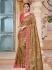 Golden brown pure banarasi silk jacquard wedding saree 2007