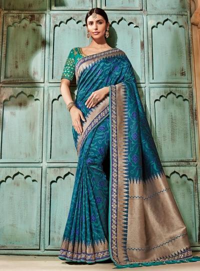 Blue pure banarasi silk saree 2008