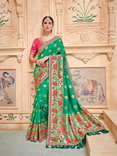 Green pink pure banarasi silk wedding saree 2010