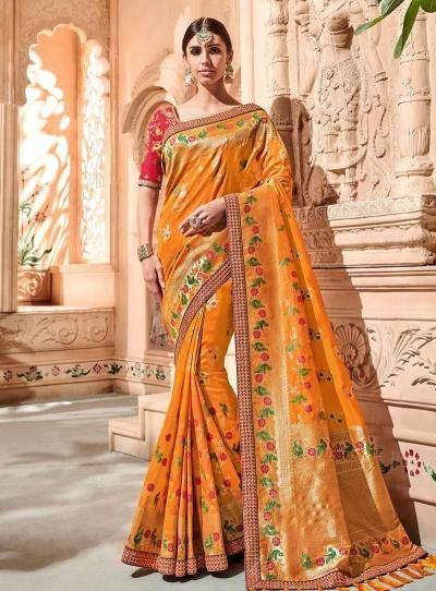 Mustuard pink color pure banarasi silk wedding saree 2014