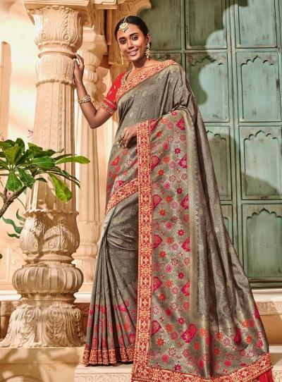 Grey color pure banarasi silkwedding saree 2015