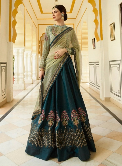 Mild green blue silk Indian wedding lehenga choli 801