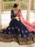 Blue pink silk Indian wedding lehenga choli 804