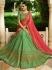Green pink silk Indian wedding lehenga choli 806