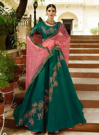 Teal Green pink silk Indian wedding lehenga choli 807
