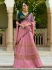 Pink green silk Indian wedding lehenga choli 809