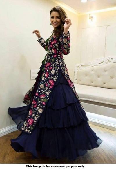 Bollywood Parineeti Chopra navy blue lehenga choli