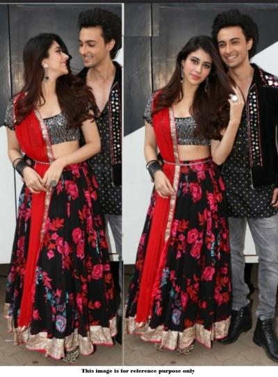 Bollywood Loveyatri Movie Aayush Sharma Black and red floral lehenga