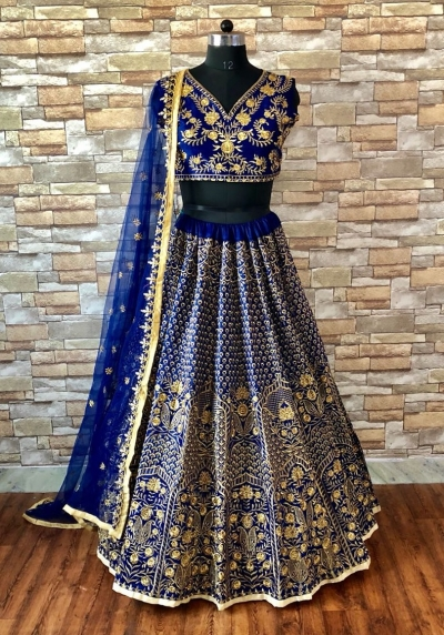 Bollywood Lakme fashion mulberry silk royal blue lehenga
