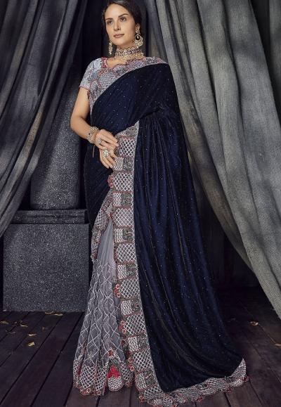 Navy blue and grey Color velvet designer party wear saree