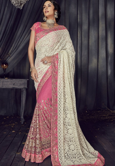 Off White and pink Color Lucknowi designer party wear saree