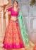 Peach and pink Banarasi silk wedding lehenga choli