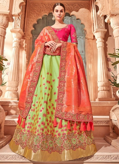 Lemon green Banarasi silk wedding lehenga choli