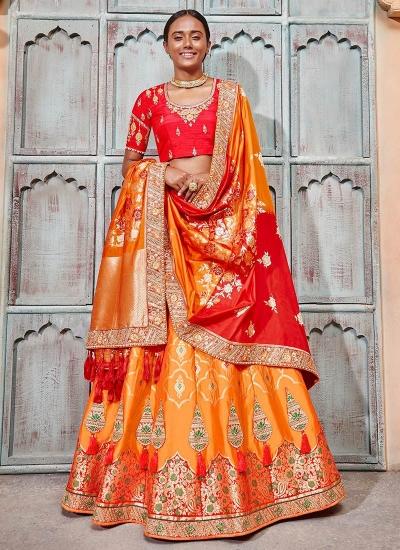 Orange and red Banarasi silk wedding lehenga choli