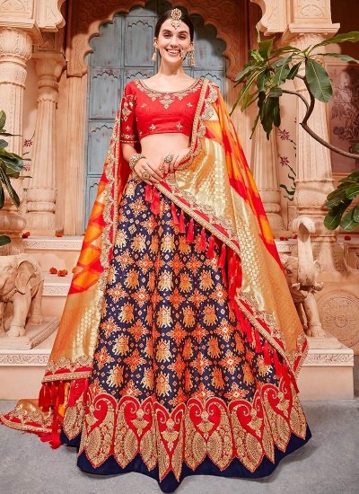 Blue and red Banarasi silk wedding lehenga choli
