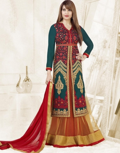 Bipasha Basu Green,Yellow and  Red Velvet Silk  Lehenga Dress with Duppatta