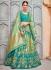 Pista green and sea green Banarasi silk wedding lehenga choli