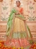 Beige and pink Banarasi silk wedding lehenga choli